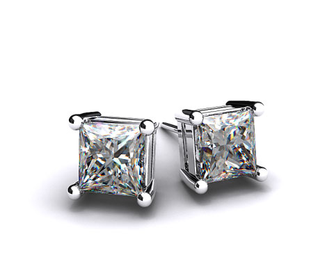 Pair of Ladies Classic 1.00 ctw Platinum Asscher  Cut Diamond Earrings 
